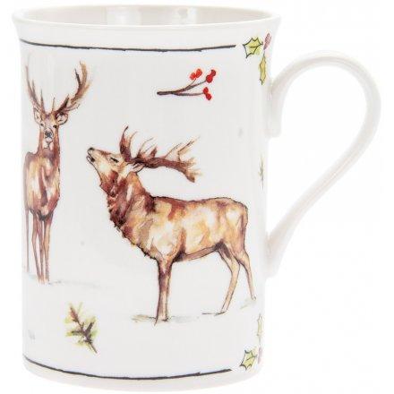 Winter Stags Fine China Mug