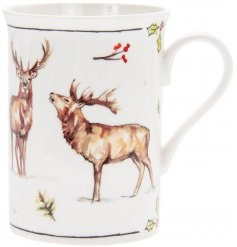 this Fine china Mug with will be sure to add a festive winter touch to any coffee or dining table