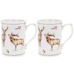 this Set of Fine china Mugs with will be sure to add a festive winter touch to any coffee or dining table