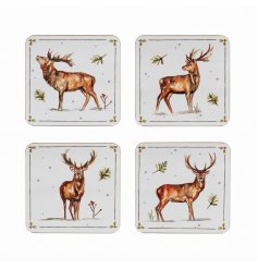 this set of 4 sleek coasters will be sure to add a festive winter touch to any coffee or dining table