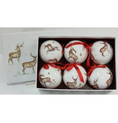 this sleek set of 6 baubles with added red ribbon hangers will be sure to add a festive winter touch to any co