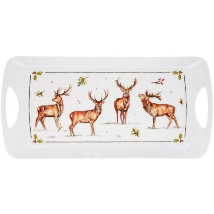 Winter Stags Medium Tray