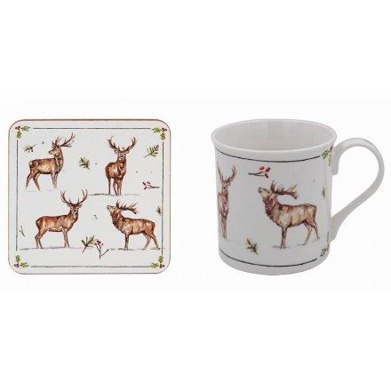 Winter Stags Mug and Coaster Set