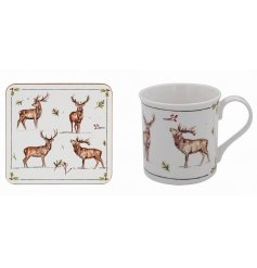 his mug and coaster set will be sure to add a festive winter touch to any coffee or dining table