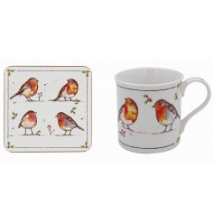 Winter Robins Mug and Coaster Set