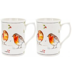 This set of Fine china mugs will be sure to add a festive winter touch to any coffee or dining table