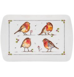 this small sized serving tray will be sure to add a festive winter touch to any coffee or dining table