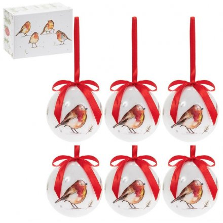 Winter Robins Set of 6 Baubles