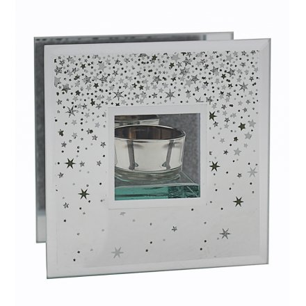 Decorated with sparkly falling stars, this beautiful mirrored tlight holder will be sure to place perfectly in any home