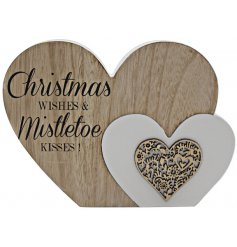 Bring home a sentimental and festive feel with this natural toned smooth wooden heart block