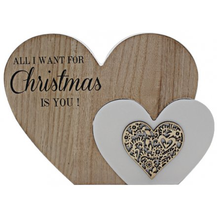 'All I Want For Christmas' Natural Toned Heart Block 22cm