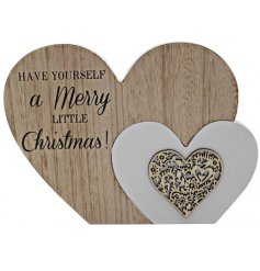 Add this chic and sweet wooden heart block into any home space during the Christmas Period for a sentimental touch