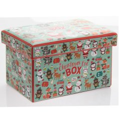 A fun and festive themed fabric box perfect for filling with Christmas eve goodies and treats!