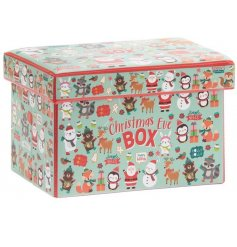 A fabric storage box covered with a Festive Friends print and block text