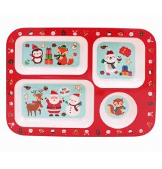 A plastic compartment tray covered with a Festive Friends print