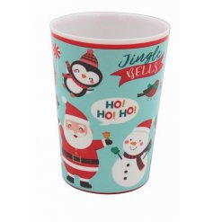 A plastic beaker covered with a Festive Friends print, perfect for tasty drinks and juices