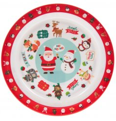 A plastic plate covered with a Festive Friends print, perfect for tasty treats and nibbles