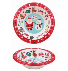 A plastic bowl covered with a Festive Friends print, perfect for tasty treats and nibbles