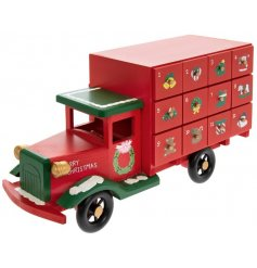 Add a festive feel to your Christmas Count Down with this bright red coloured truck with 24 illustrated draws