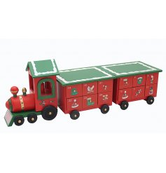 Set with traditional Green and Red prints, this advent calendar train is complete with illustrated draws