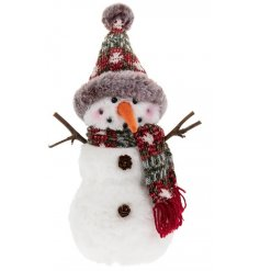 A sweet standing fabric snowman decoration, perfectly set with a woollen hat and scarf