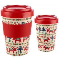 Covered with a festive Scandinavian decal, this colourful travel mug will be sure to improve any morning coffee at Chris