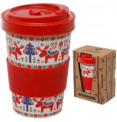 Bring a festive Scandi feel to your morning coffee with this colourful Eco Friendly Bamboo Travel Mug