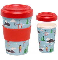 Bring a festive winter feel to your morning coffee with this colourful Eco Friendly Bamboo Travel Mug