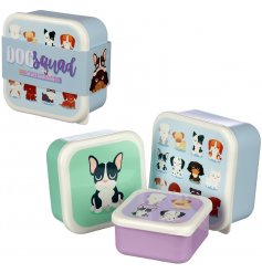 A set of three stacking lunch boxes with a cool dog squad image.