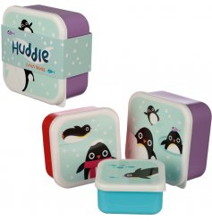 A set of three stacking lunch boxes with cool penguin images.