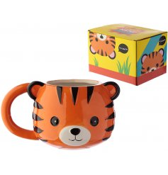 A bright and bold tiger design mug with matching gift box.