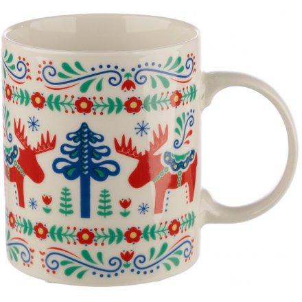 Scandi Print Bone China Mug