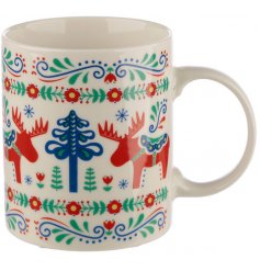 Covered with a festive Scandinavian decal, this colourful bone china will be sure to improve any morning coffee