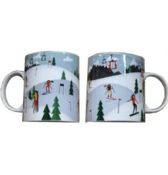 Bring a festive winter feel to your morning coffee with this colourful Fine China Mug