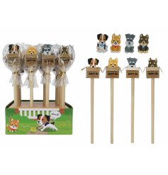 An assortment of wooden writing pencils, set with cute puppy erasers hidden inside adoption boxes!