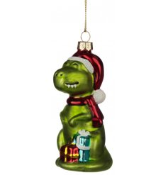 Add a quirky feature to your Christmas Tree Displays with this cute little hanging glass dinosaur