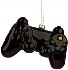 A quirky controller shaped glass bauble, perfect for adding to any themed tree wanting a twist
