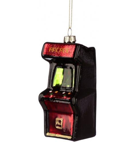 A retro style arcade machine Christmas decoration.
