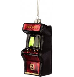 A hanging glass Retro Game Machine ornament, perfect for adding a Twist to any Geek or Gamers Tree display at Christmas