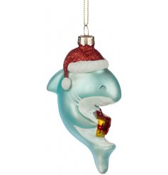 A festive little hanging glass Shark Ornament, perfect for bringing to any Quirky tree theme at Christmas