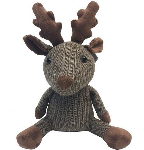 An adorable fabric reindeer doorstop in the country Herringbone patterned fabric.
