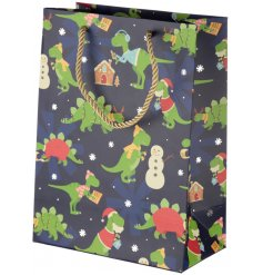 A ROARsome themed gift bag, perfect for presenting gifts at Christmas!