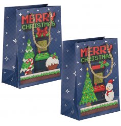 A quirky retro gaming themed gift bag, with an added festive feature