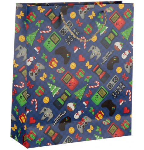 Retro gaming style gift bag with a festive twist. Perfect for a teenagers Christmas present.
