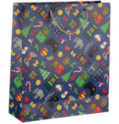 A festive Gift Bag featuring a quirky Retro Gaming themed print
