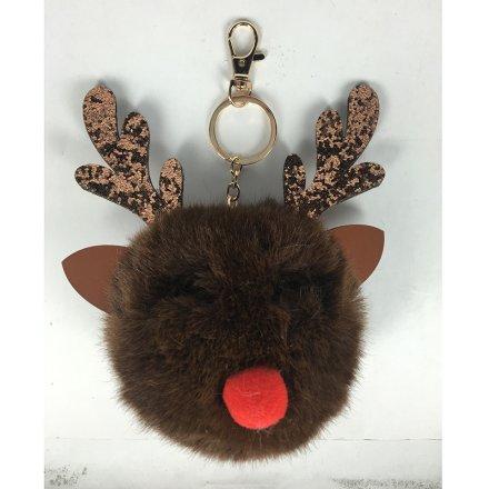 Pompom Reindeer Keyring