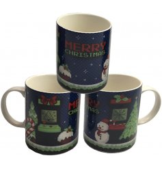 A retro gaming themed Fine China Mug with an added festive feel