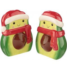 An adorable set of festive themed Salt and Pepper Shakers in an Avocado Form