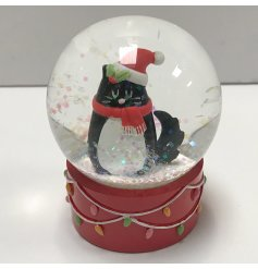 A festive themed snowglobe with a cute cat decal centre
