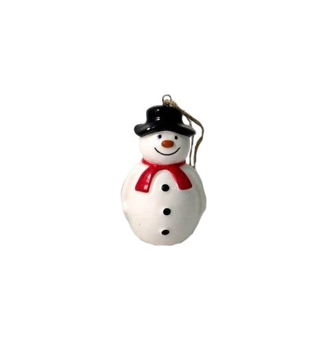 A charming ceramic snowman decoration with a top hat, red Christmas scarf and smiling face. Complete with rustic hanger.